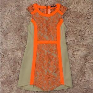 Cream & Orange Dress with Lace Detail